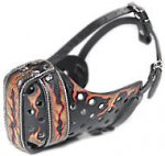 "Leather Dog Muzzle Hand Painted by our Artists ""Fire Flames"""