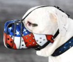 "Hand painted Leather Dog Muzzle ""Dondi"" for Dogo Argentino"