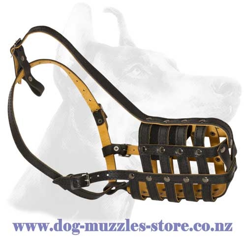 Dog muzzle with soft leather lining
