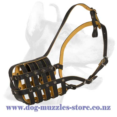 Leather dog muzzle with perfect ventilation