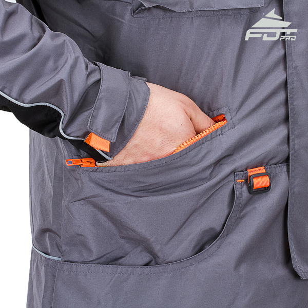 Professional Dog Training Jacket with Back Pockets for All Weather Use