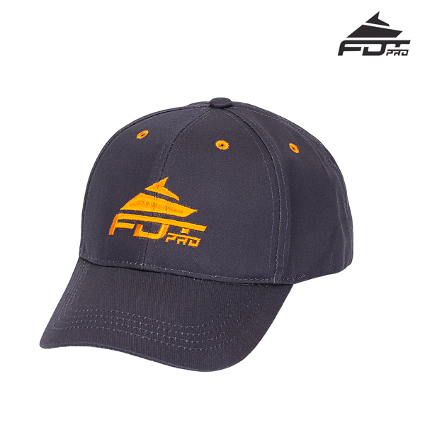 One-size Cap of Dark Grey Color with Orange Logo for Dog Walking