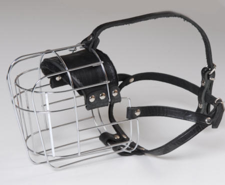 Large wire basket dog muzzle