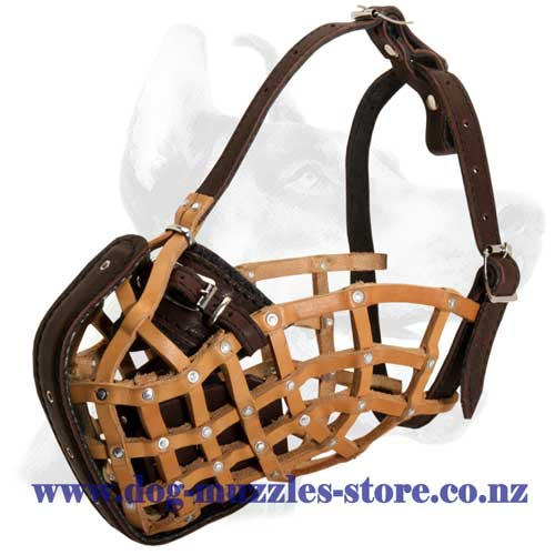 Leather dog muzzle for all breed dogs