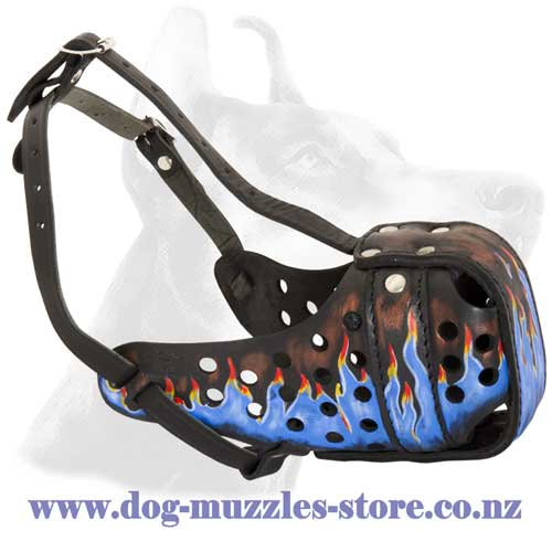 Leather dog muzzle for large breeds