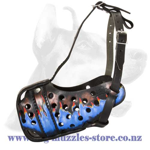 Leather dog muzzle with blue fire painting
