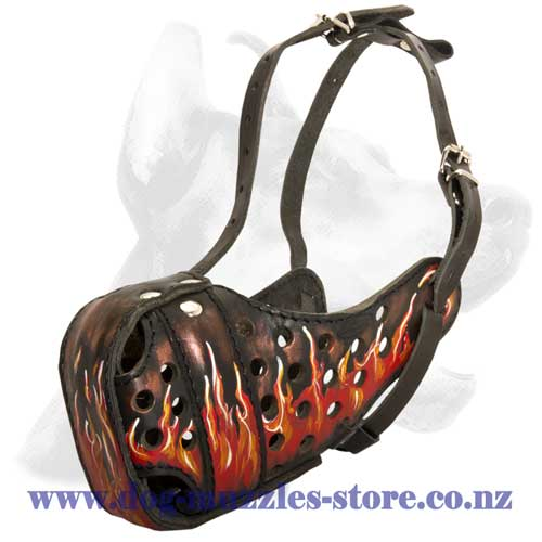 Leather dog muzzle with flames painting